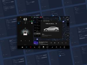 Tesla Modelo 3 Configuración y elementos de GUI Sketch Recurso