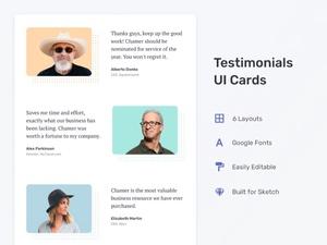 6 Testimonials UI Cards Sketch Resource
