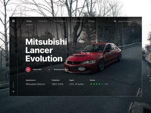 Mitsubishi Lancer Evo Landing Page Concept
